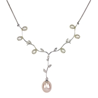 18ct White Gold Diamond and Cultured Akoya Pearl Necklace
