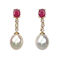 9ct Yellow Gold Ruby, Diamond and Freshwater Pearl Drop Earrings