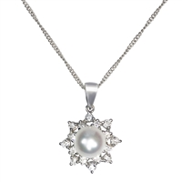 18ct White Gold Diamond and Cultured Akoya Pearl Pendant and Chain