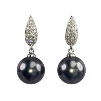 18ct White Gold Diamond an Black Tahitian Pearl Drop Earrings