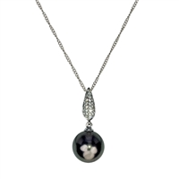 18ct White Gold Diamond and Black Tahitian Pearl Pendant and Chain