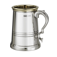 The Worcester Fine English Pewter Pint Tankard with Brass Rim. Wooden Gift Cased