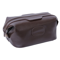 Gent's Leather Single Pocket Dark Brown Wash Bag