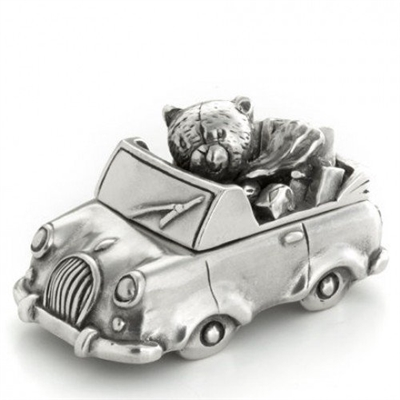 Pewter Teddy in Car First Tooth Keepsake Box by Royal Selangor