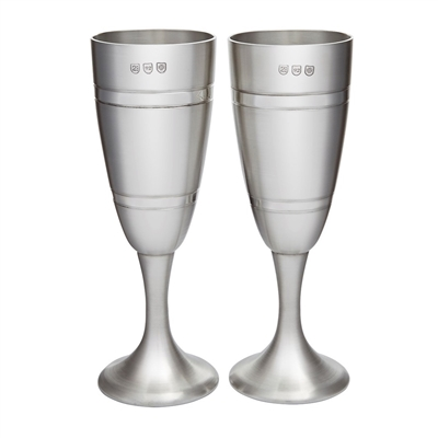 Pair Celebration Satin Finished Champagne Flutes. Fine English Pewter with Engraving by Wentworth of Sheffield