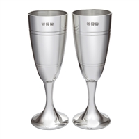 Pair Celebration Part Satin Finish Champagne Flutes. Fine English Pewter with Engraving by Wentworth of Sheffield