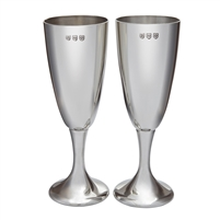 Pair Celebration Champagne Flutes. Highly Polished Fine English Pewter with Engraving by Wentworth of Sheffield