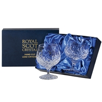 Pair London Design Brandy Balloon Glasses by Royal Scot Crystal