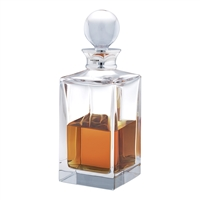 Plain Square Crystal Spirit Decanter with Sterling Silver Collar. 65cl