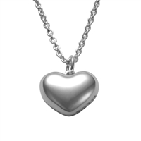Sterling Silver Polished Heart Pendant Necklace by Comyns of London