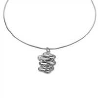 Sterling Silver 'Coral' Design Pendant and Chain by Comyns