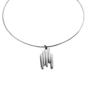 Sterling Silver 'Razor Shell' Design Pendant and Chain by Comyns
