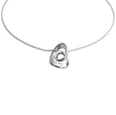Sterling Silver 'Spatium' Design Pendant and Chain by Comyns