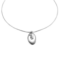 Sterling Silver 'Wave' Design Pendant and Chain by Comyns