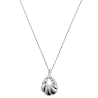 Small Size Sterling Silver 'Palm' Design Pendant and Chain by Comyns