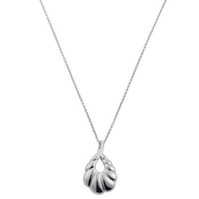 Large Size Sterling Silver 'Palm' Design Pendant and Chain by Comyns