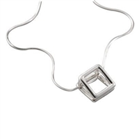 Large Sterling Silver 'Tent' Design Pendant and Chain by Comyns