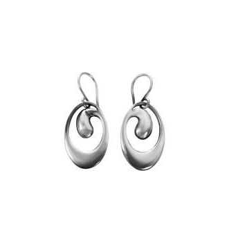 Sterling Silver 'Wave' Design Drop Earrings by Comyns of London