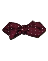 Burgundy Maroon Silk London Spot Hand Tied Bow Tie by Peckham Rye