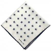 Navy Blue & White Silk Handkerchief Pocket Square. Skull & Crossbones Design by Peckham Rye