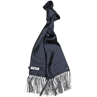 Navy Blue London Spot Pure Silk Scarf by Peckham Rye, Block 17 