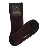 Cotton Mid Length Maroon & Navy Socks by Peckham Rye