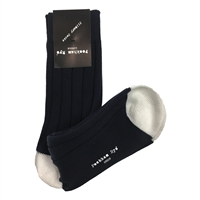 Cotton Mid Length Navy Blue & White Socks by Peckham Rye