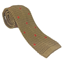 Knitted Silk Gold with Red Spot Tie by Peckham Rye