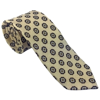 100% Wool Tie by Peckham Rye. Light Beige with Geometric Detail