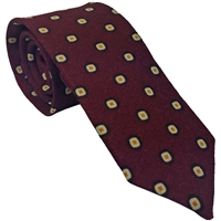 100% Wool Tie by Peckham Rye. Maroon with Geometric Detail