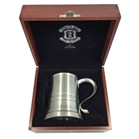 Pewter One Pint Eton Tankard with Glass Bottom in Wooden Presentation Case by Crown & Rose