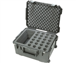 SKB Waterproof Microphone Case Holds 24 Mics with Storage and Wheels