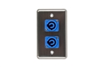 OSP D-2-2PCA Stainless Steel Duplex Wall Plate with 2 Powercon A Blue Connectors