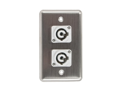 OSP D-2-2PCB Stainless Steel Duplex Wall Plate with 2 Powercon B Grey Connectors