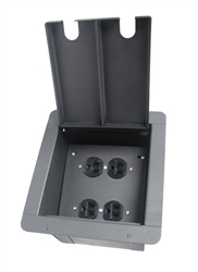 Elite Core Recessed Pocket Audio Stage Floor Box with Quad AC Outlets