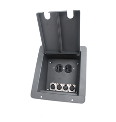 Elite Core Recessed Pocket Audio Stage Floor Box w/4 Female XLR Mic Connectors & AC Outlet