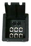 Elite Core Recessed Metal Stage Pro Audio Floor Box With 6 XLR and 2 Speakon Connectors