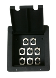 Elite Core Recessed Stage Pro Audio Floor Box with 8 -XLR Connector Plug