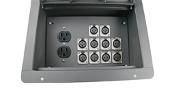 Elite Core Recessed Stage Audio Floor Box w/ 10 XLR Mic Connectors & AC Outlets