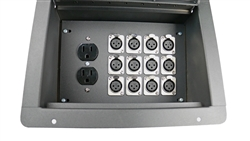 Recessed Stage Audio Floor Box w/ 12 XLR Mic Connectors & AC Outlets