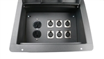 Elite Core Recessed Stage Audio Floor Box w/ 6 XLR Mic Connectors & AC Outlets