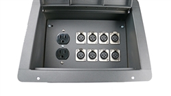 Elite Core Recessed Stage Audio Floor Box w/ 8 XLR Mic Connectors & AC Outlets