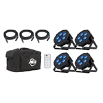 ADJ Mega Flat Hex Par Pack with DMX Cables Remote & Carrying Bag