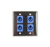 OSP Stainless Steel Quad Wall Plate with 4 Powercon A Blue Connectors