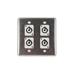 OSP Stainless Steel Quad Wall Plate with 4 Powercon B Grey Connectors