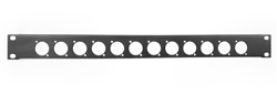 1U Space Punched Rack Panel 12 holes XLR D series Black Metal by Elite core