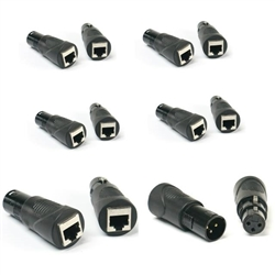 VRL RJ45 Ethernet to 3 Pin XLR DMX Female & Male Adapter Sets