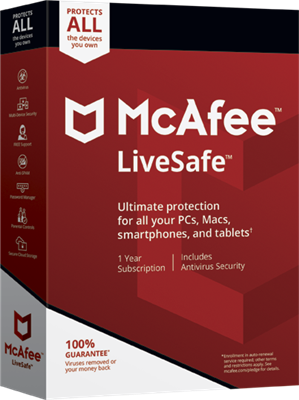 McAfee Live Safe - Unlimited Downloads for PC, MAC, Mobile Devices for 1 Year