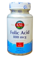 KAL Folic Acid 800 mcg 100 Tablets