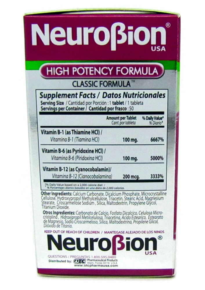 neurobion high potency formula 50 tablets